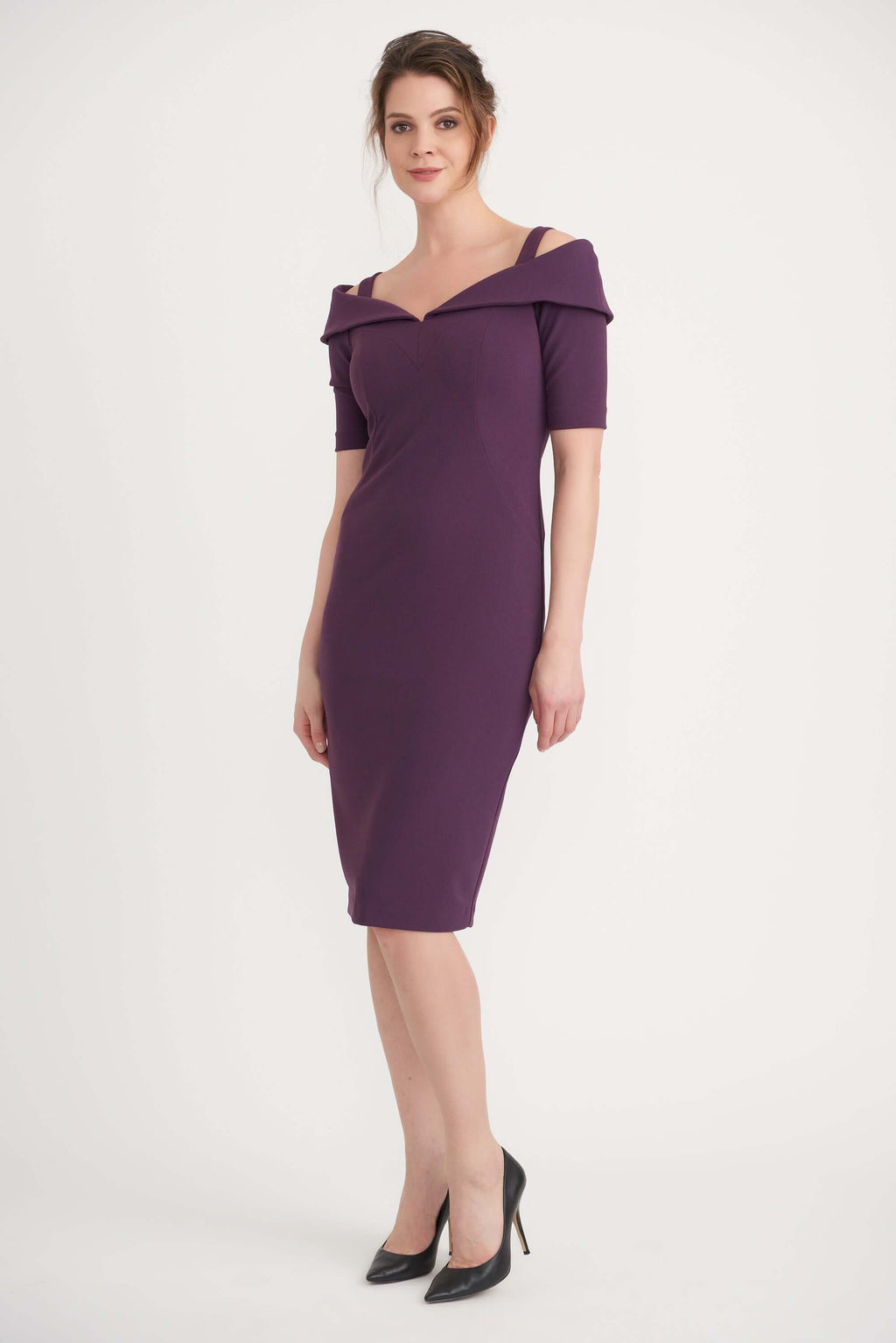 Joseph Ribkoff Cold Shoulder Amethyst Dress 203645