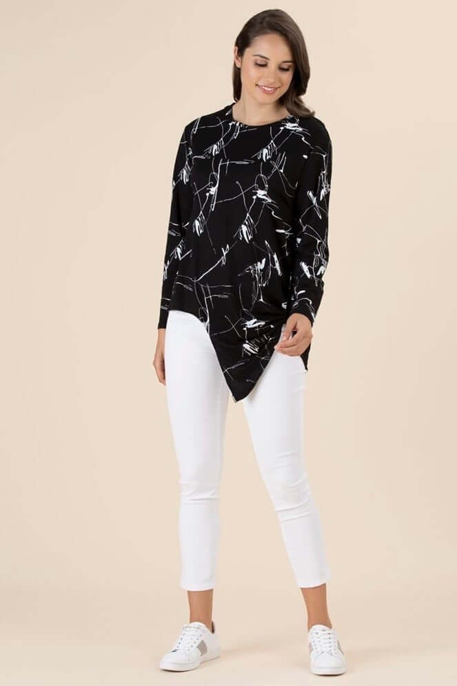 Clarity Black Print Top 36645 (4555580899413)