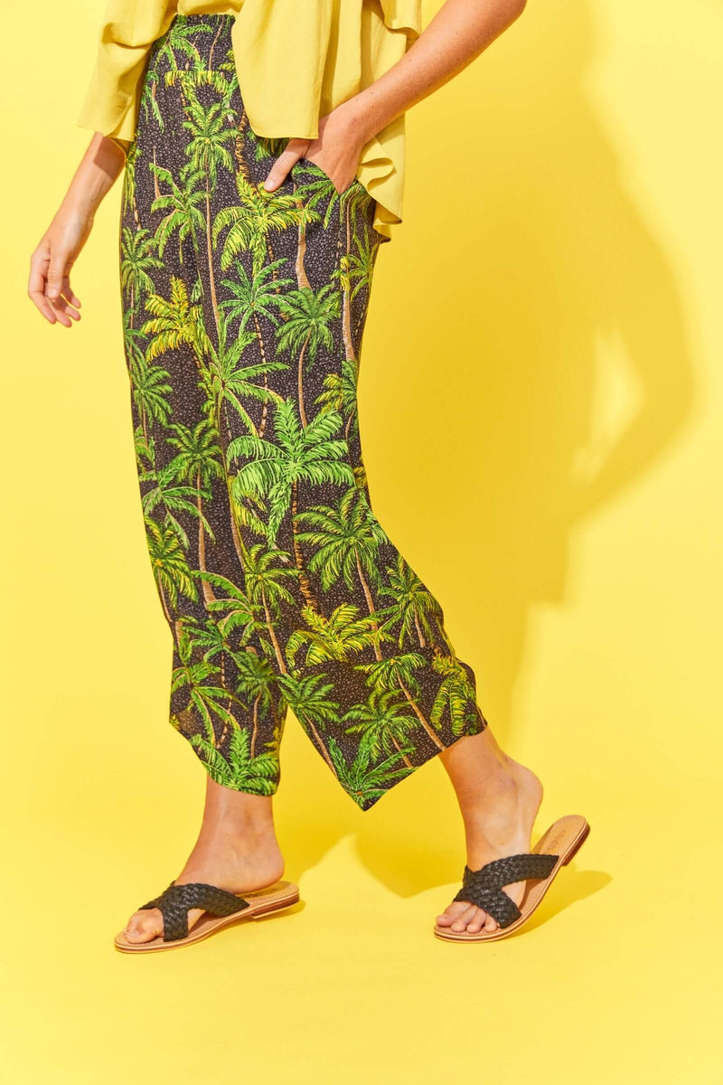 Haven Paradise Black Palm Pant