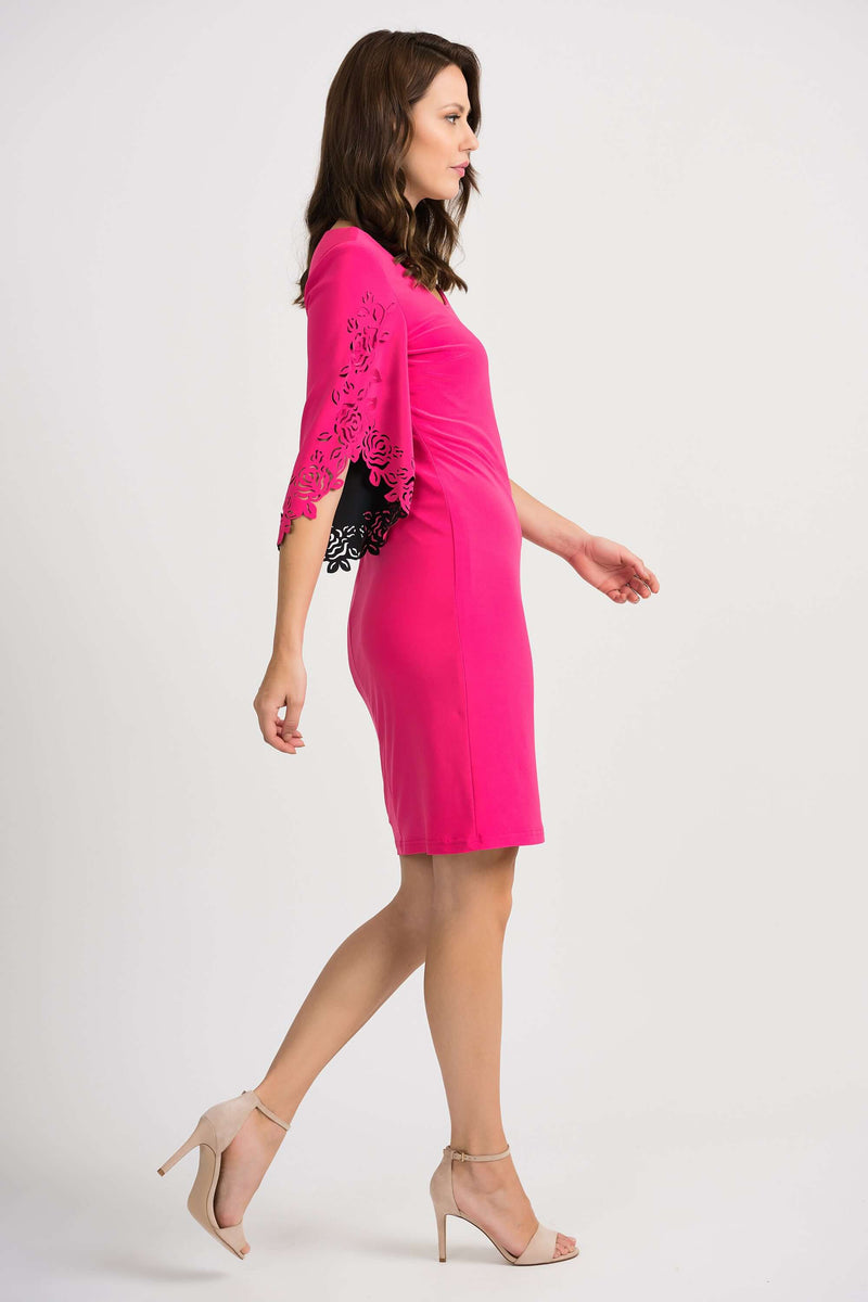 Joseph Ribkoff Pink Dress with Laser Cut Sleeve 201320