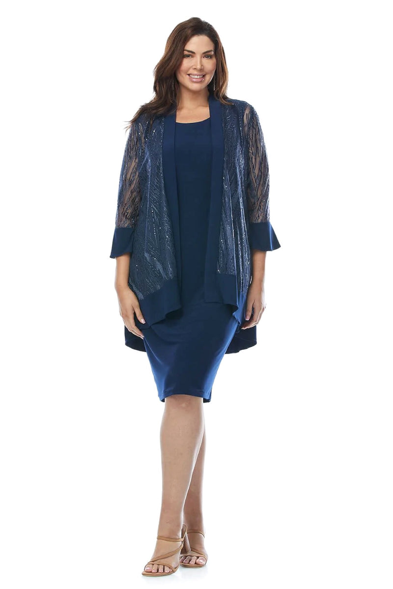 Frank Lyman Lurex Cape Dress in Midnight 179257