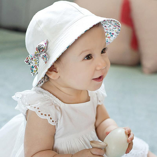 be4849255f9 2017 Fashion Baby Girl Hats Summer Two Sided Cap Hat Infant Kids Children  Floral Bowknot Sun