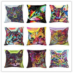 Multicolor Cat Cushion Cover