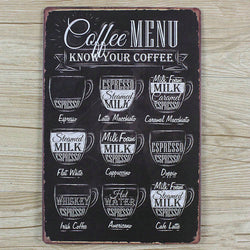 Coffee Menu Vintage Look Metal Sign