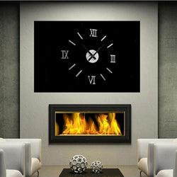 3D Mirror Design Wall Clock Decal