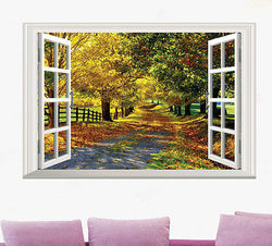 3D Window View Wall Decal - Maple Track