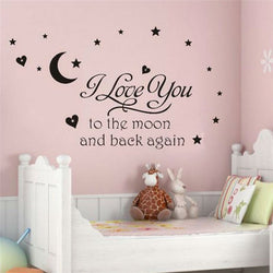 I Love You To The Moon And Back Again Quote Wall Decal