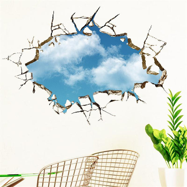 3D Blue Sky Wall Decal