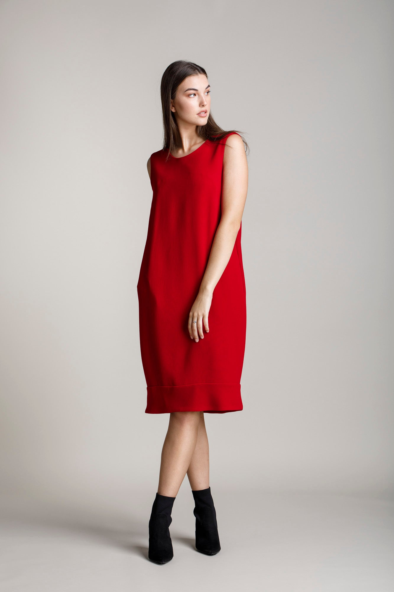 Cherry Wool Narrow Panel Hem Shift 5223