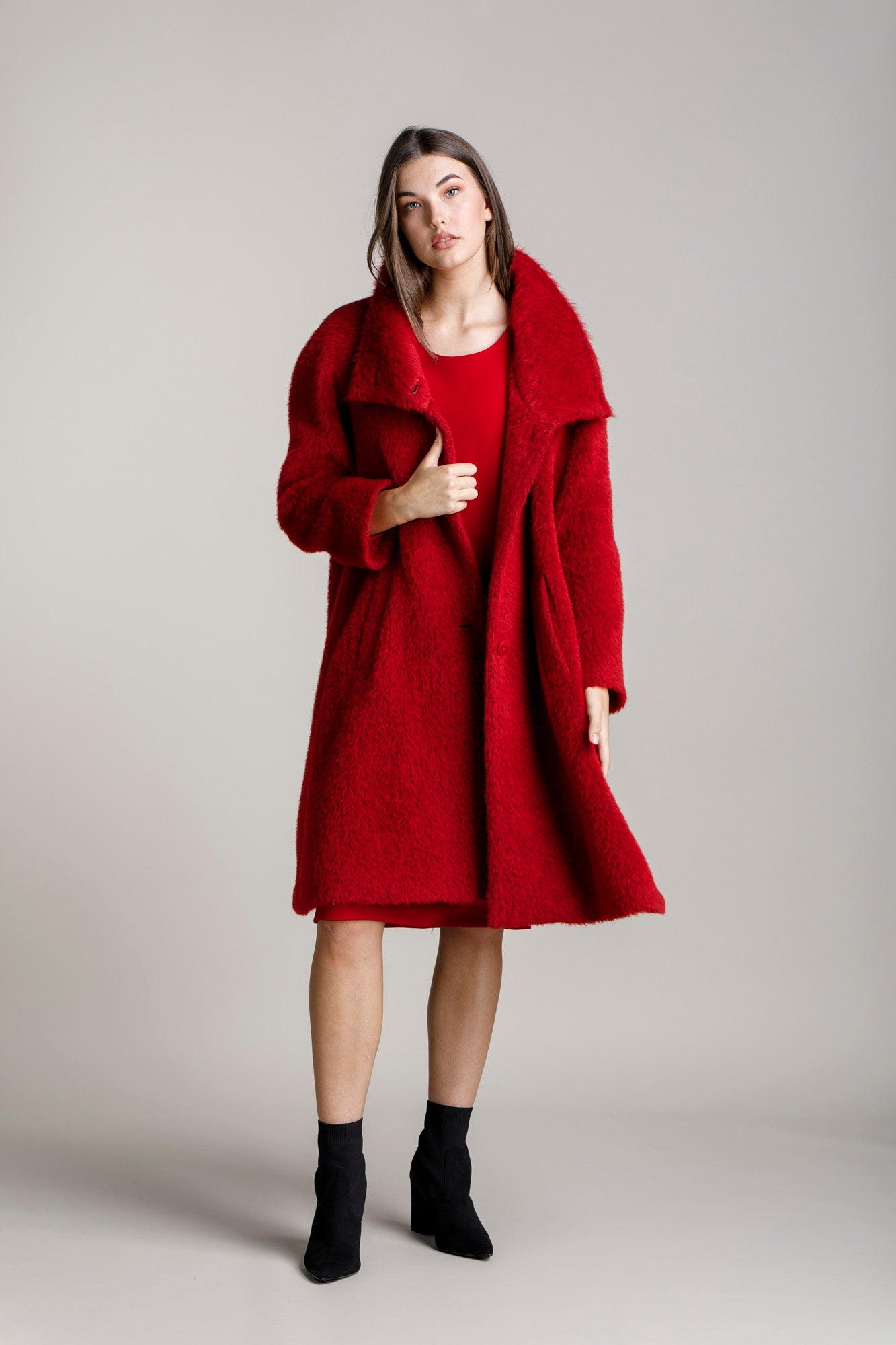 Cherry Drop Collar Long Coat 5245