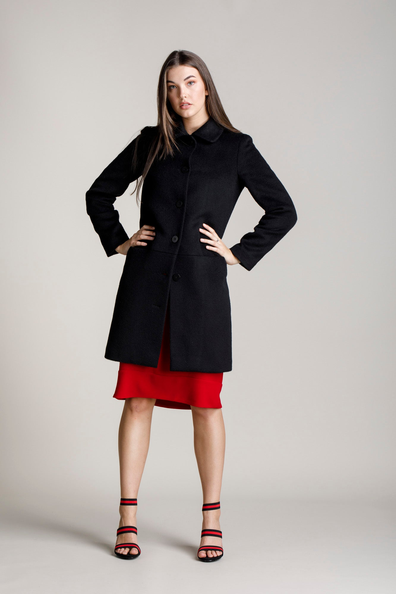 Black Hip Pocket Coat 5272