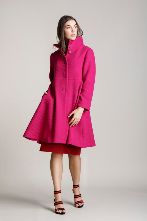 Cerise High Collar Flared Coat 5219
