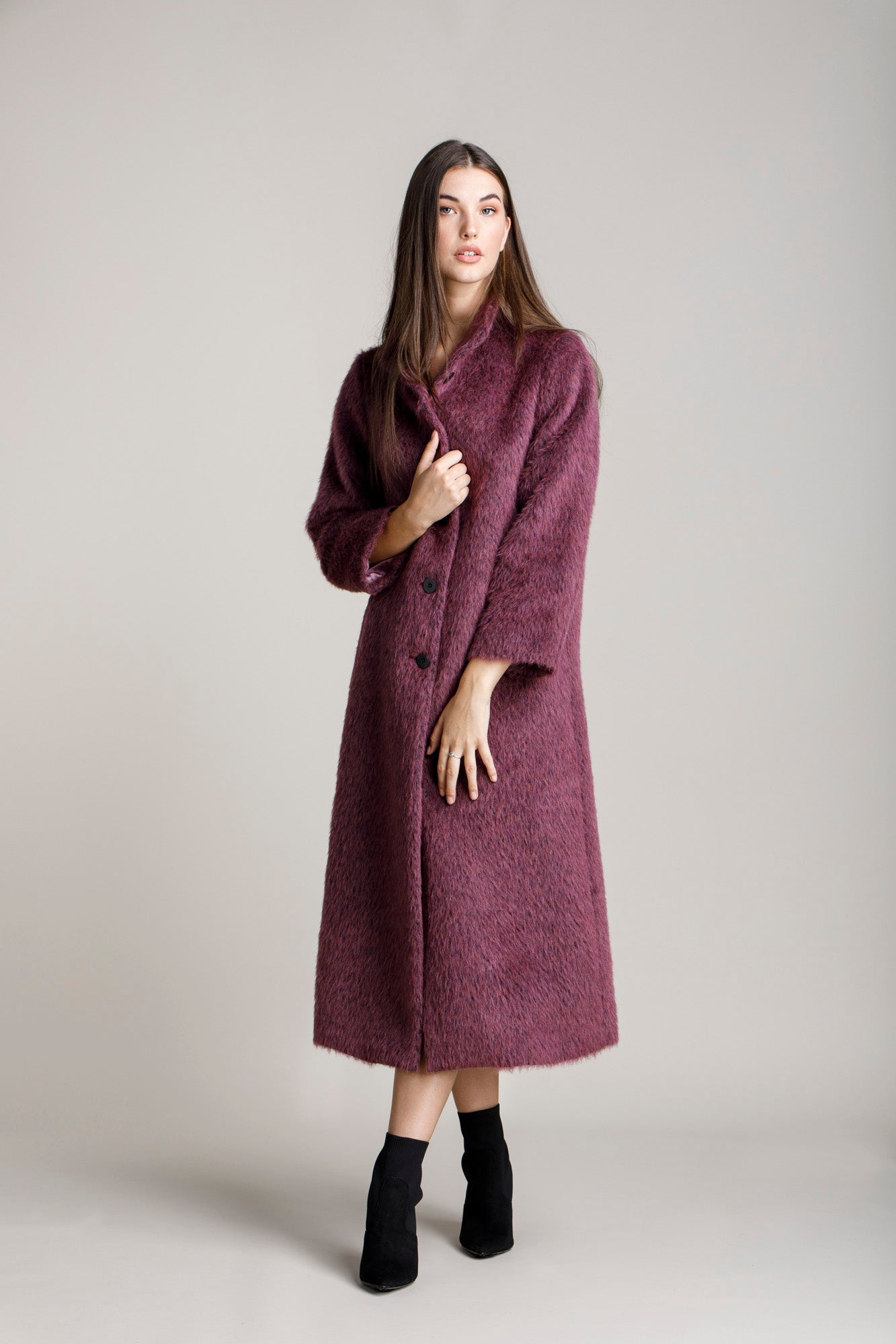 Rose High Neck Long Coat 5284
