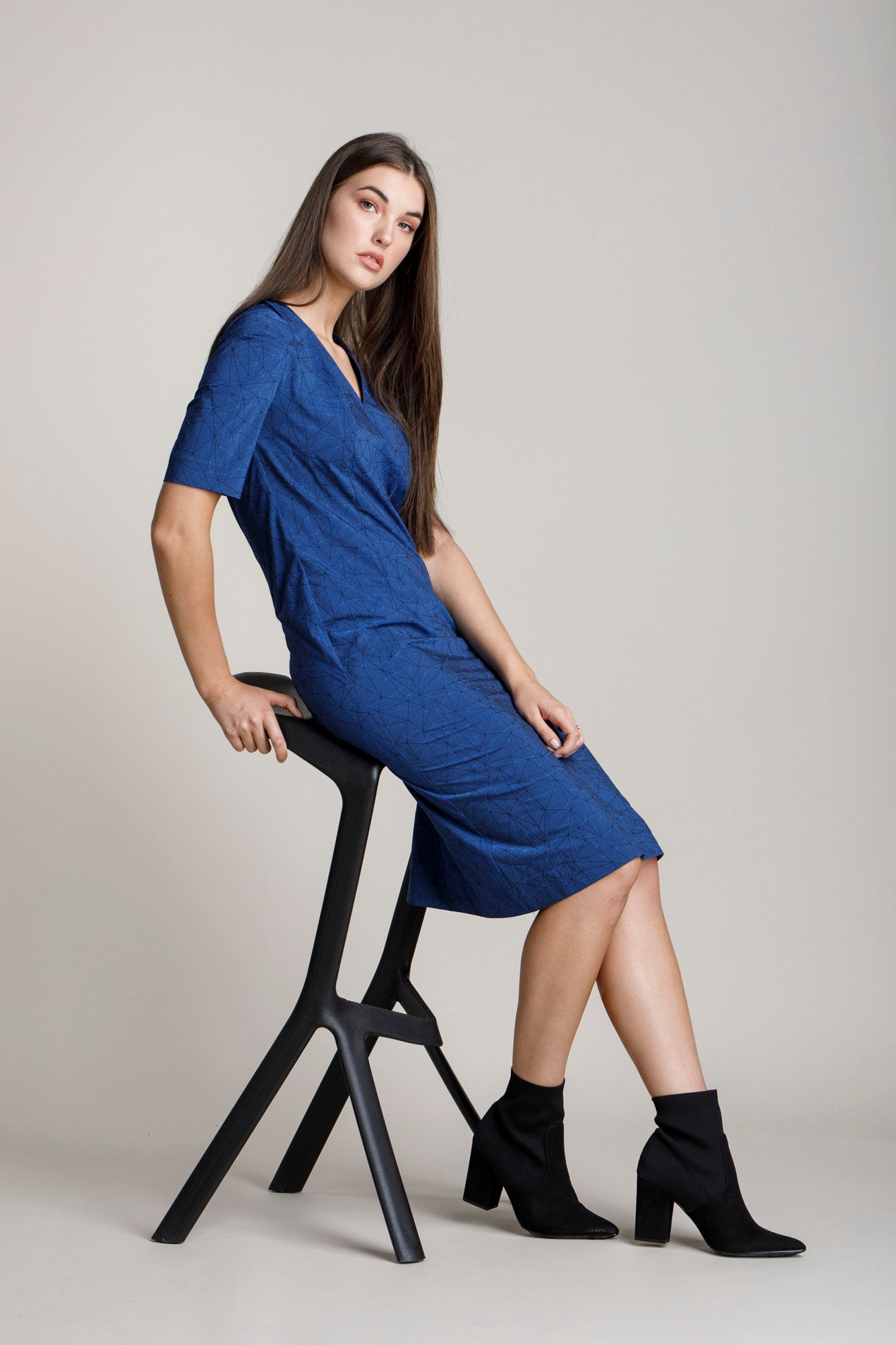 Indigo Geometric Tuck Sleeve V Neck Dress 5277