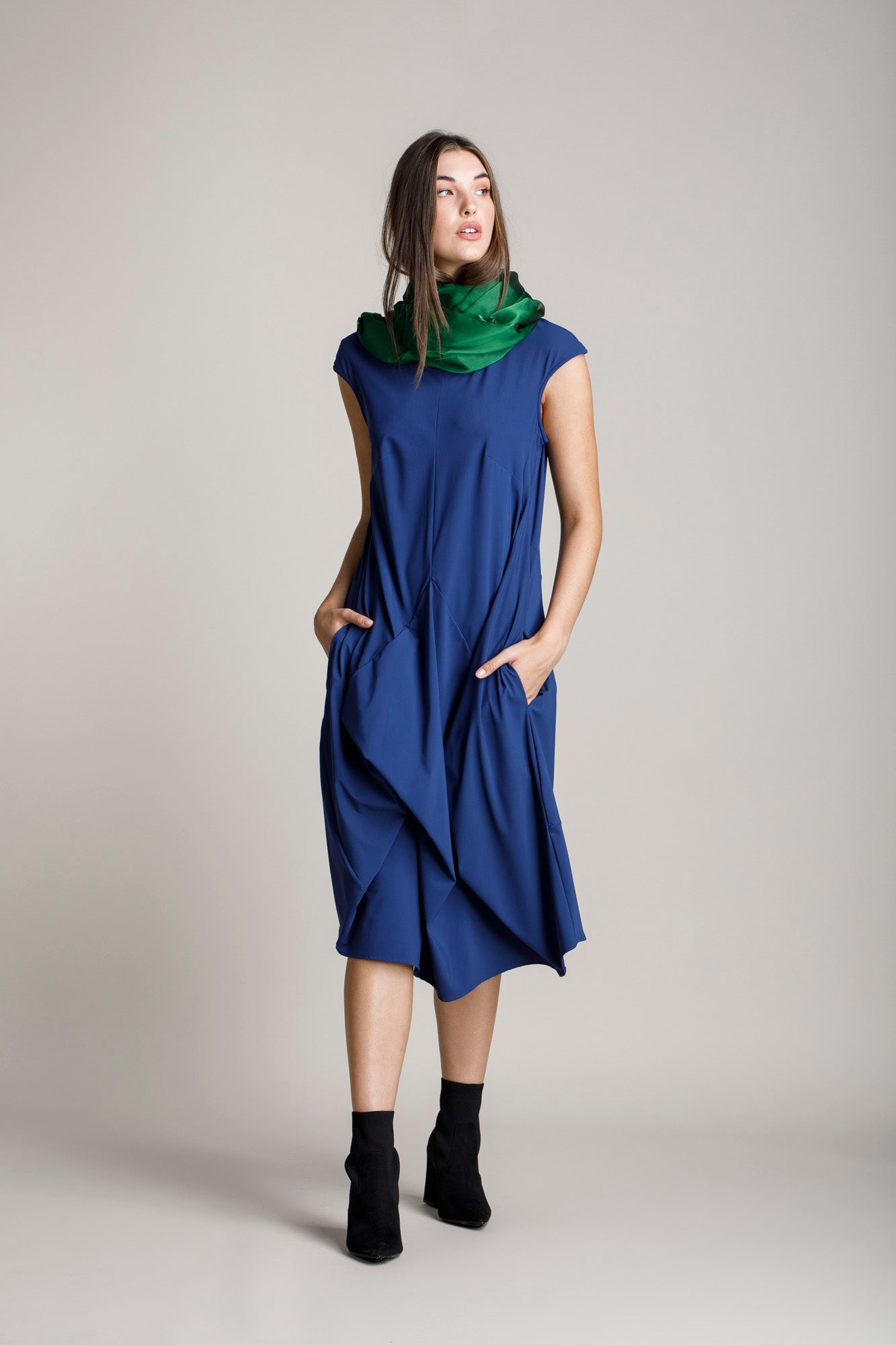 Indigo Jersey Tucked Cap Sleeve Dress 5282