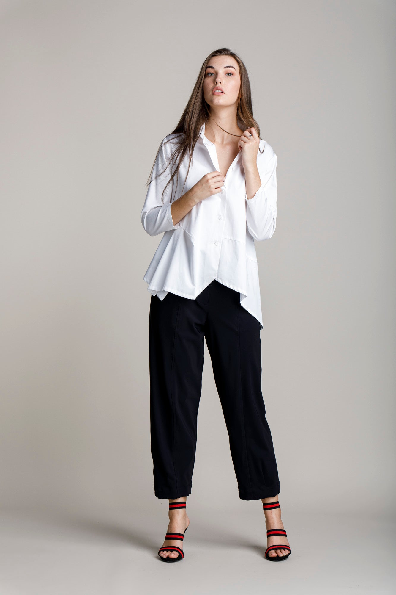 White Cotton Asymmetric Angle Shirt 7204