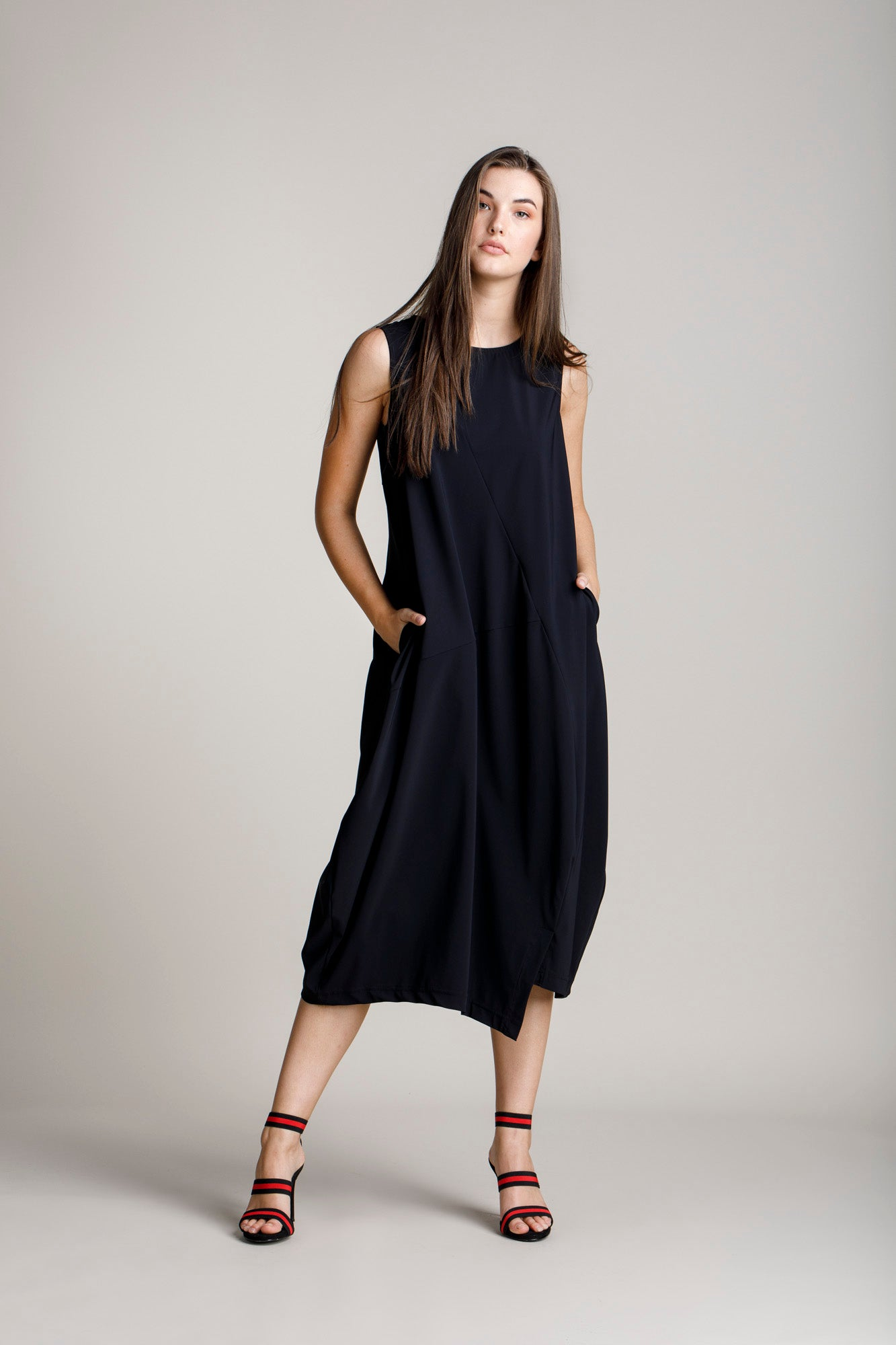 Black Jersey Asymmetric Panel Singlet Dress 5264