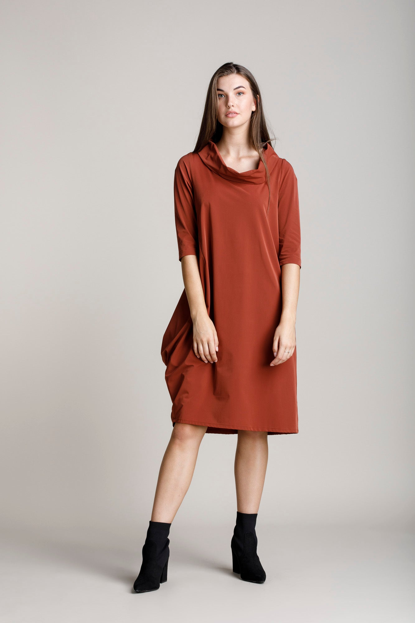 Rust Cowl Neck 3/4 Sleeve Dress 5253