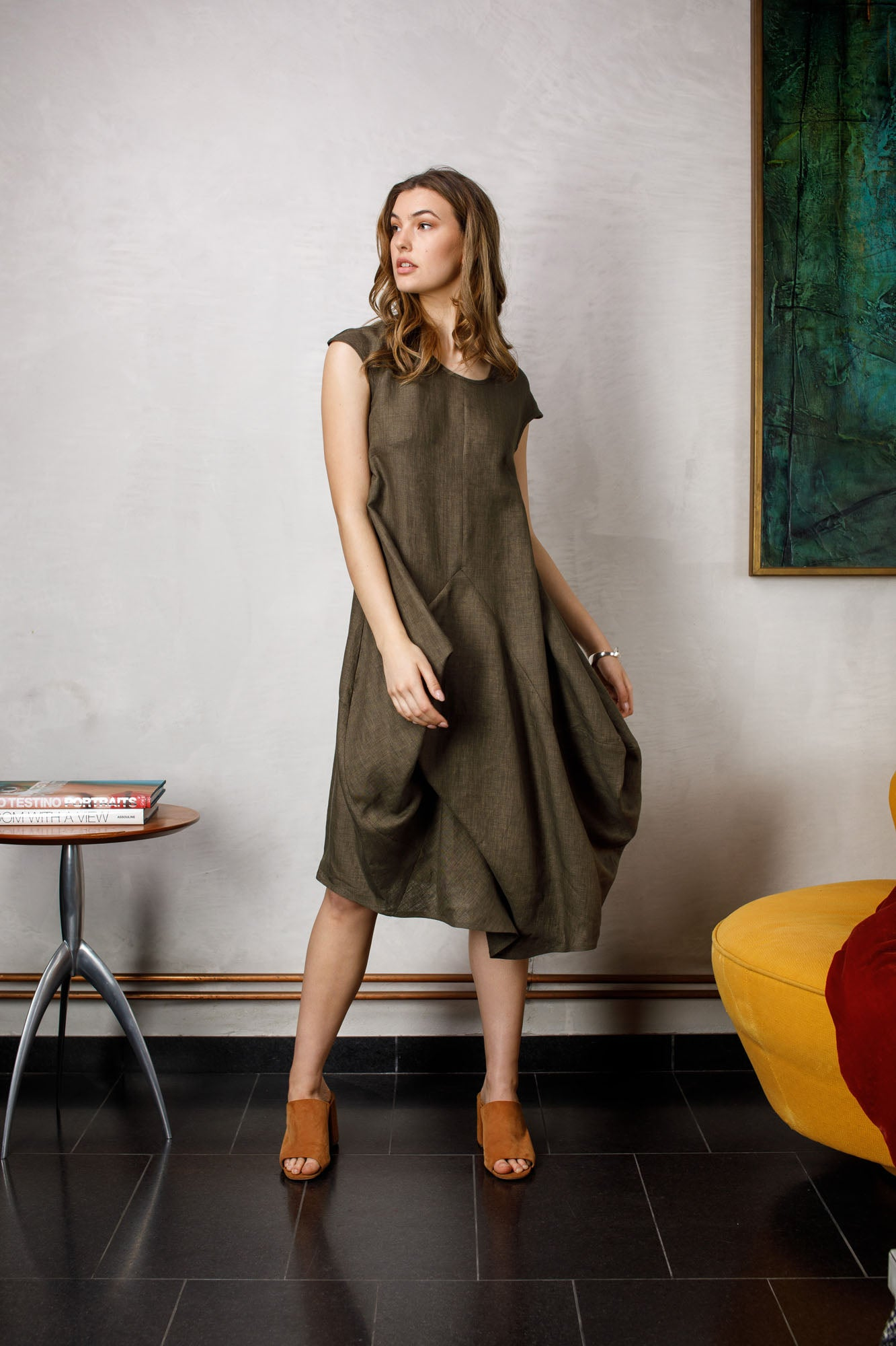 Olive Linen Tucked Cap Sleeve Dress 6267