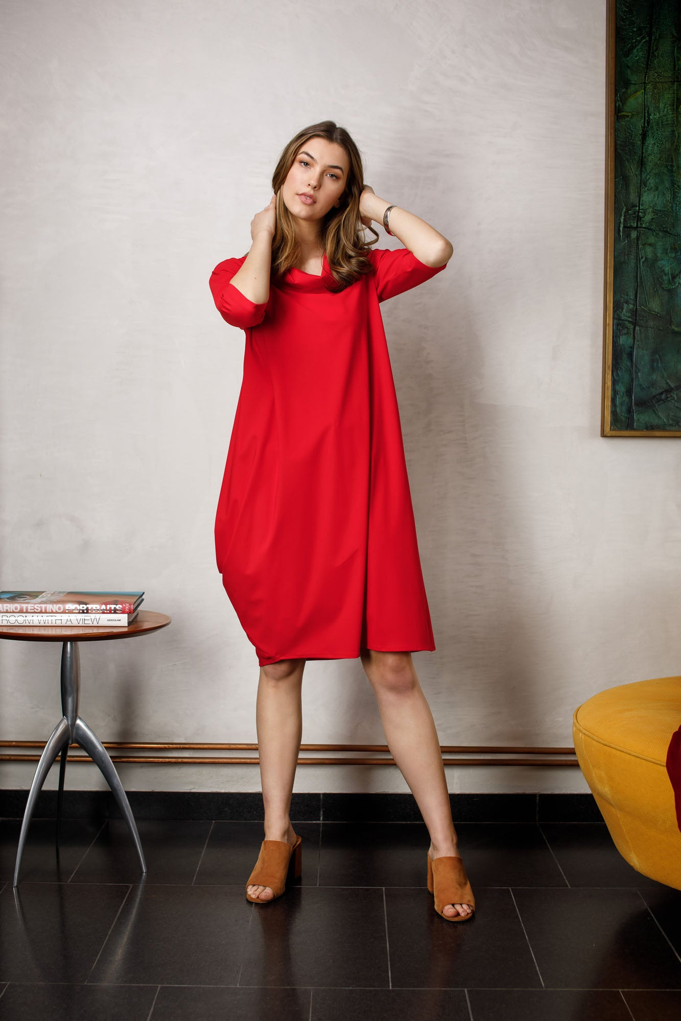 Flame Cowl Neck 3/4 Sleeve Dress 6241