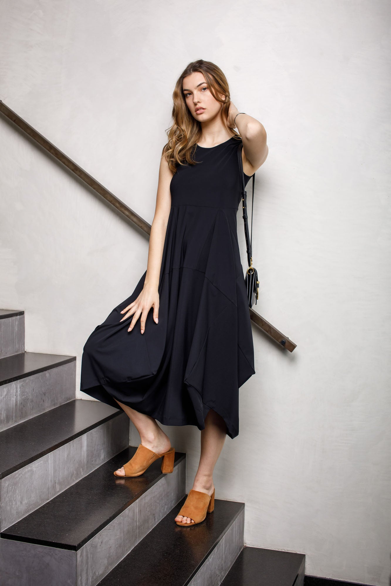 Black Jersey Multipanel Dress 9232