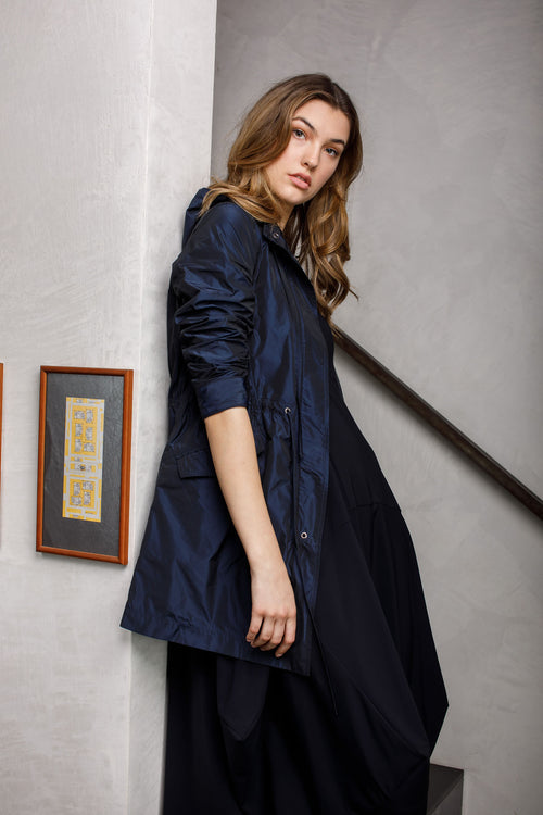Navy Detachable Hood Trench 7254