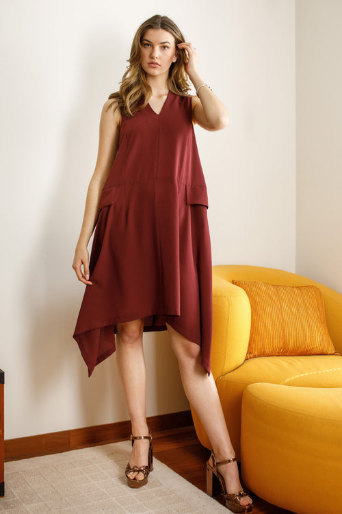Wine V Neck Angle Hem Dress 6286