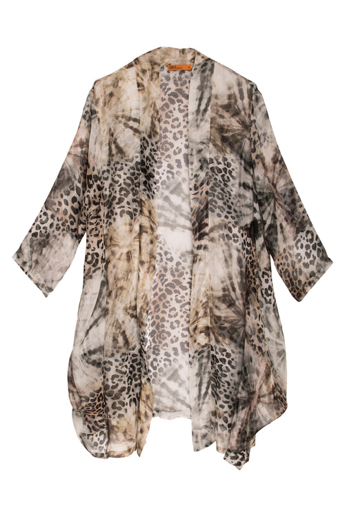 Leopard Animal Print Silk Long Jacket Australian Made