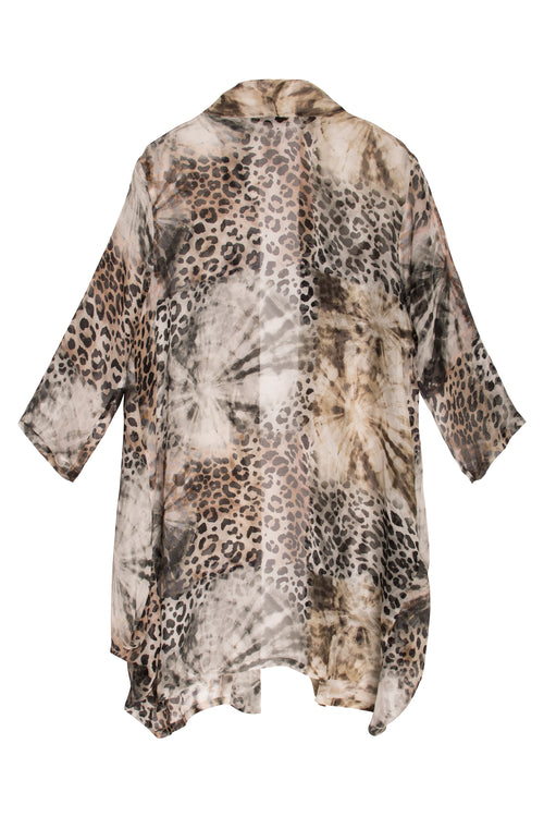 Animal Print Silk Long Jacket