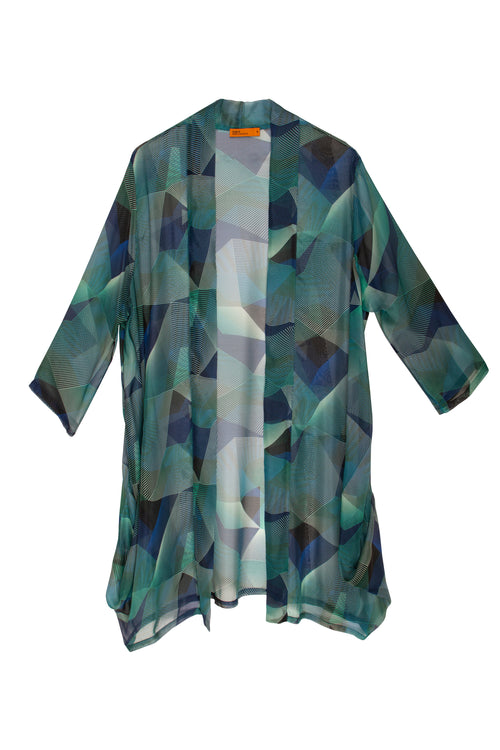 Silk chiffon long jacket with a geometric line print in shades of blue, aqua and black, made in Australia.