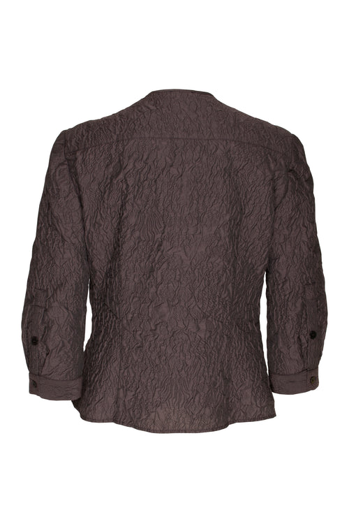 Aubergine Jacquard Collarless 3/4 Sleeve Shirt 9215