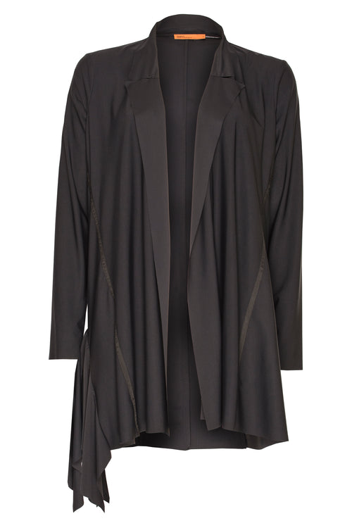 Black Jersey Side Drape Jacket 7231