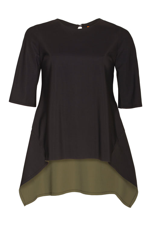 Black Bonded Jersey Short Sleeve Angle Top 6296