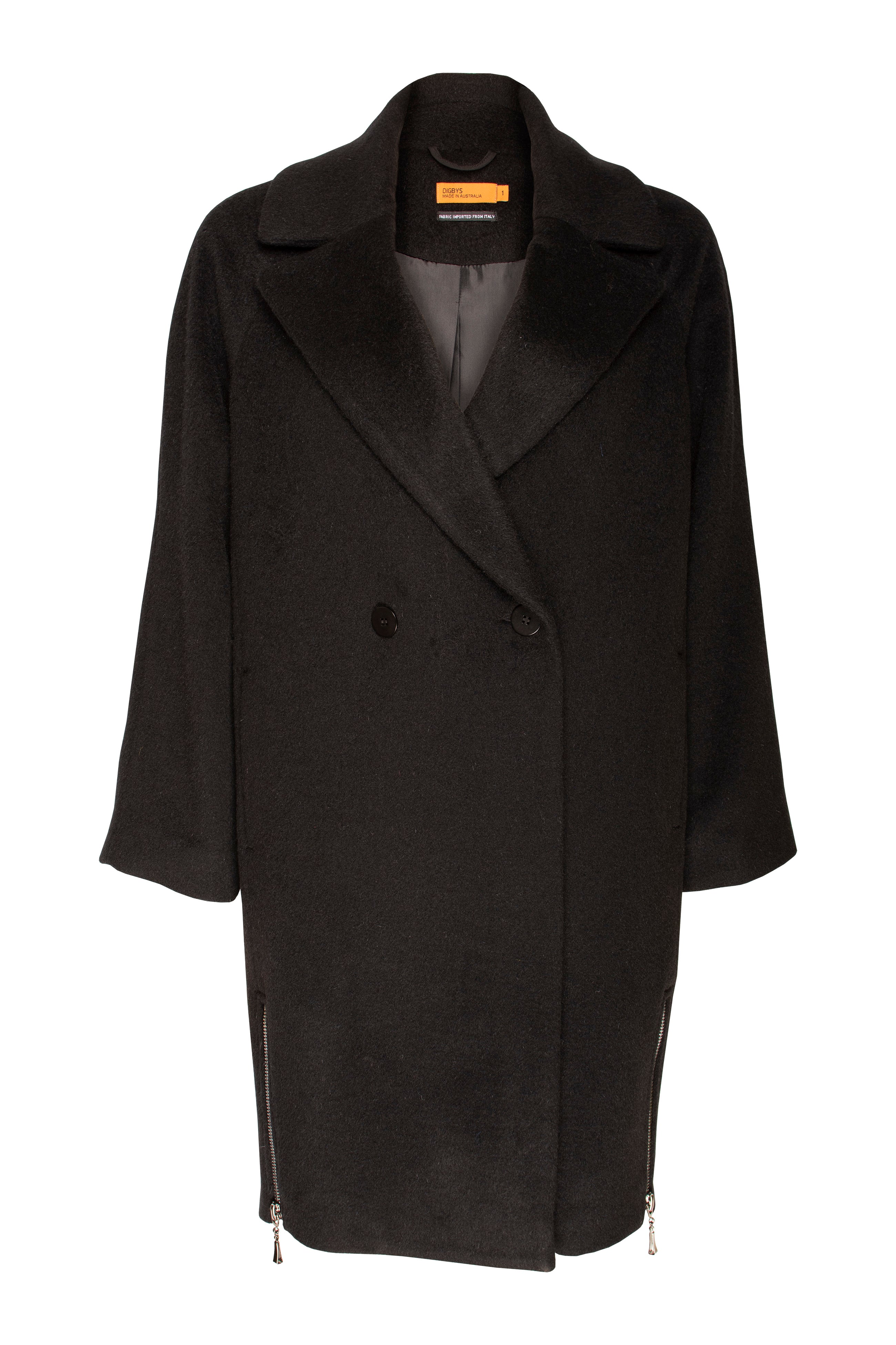 Black Italian Wool blend coat with a cocoon shape, side zips and raglan sleeves, made in Australia