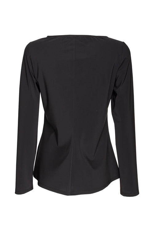 Black Jersey Long Sleeve Crossover Top 8221