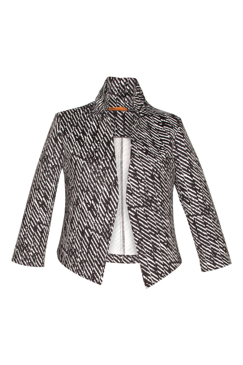 Black/White Stripe High Collar Classic Jacket 4262