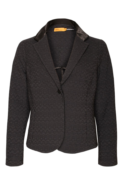 Black stretch jacquard Blazer Jacket with silk satin detail Australian made