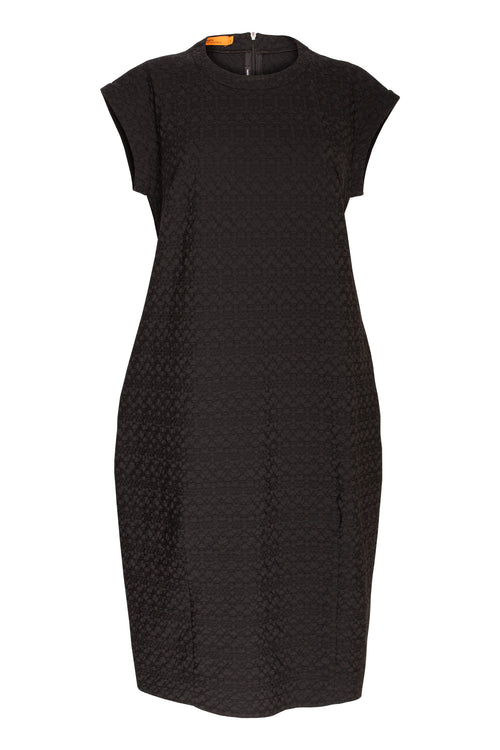 Black stretch jacquard cuffed dress with a tulip shape Australian made