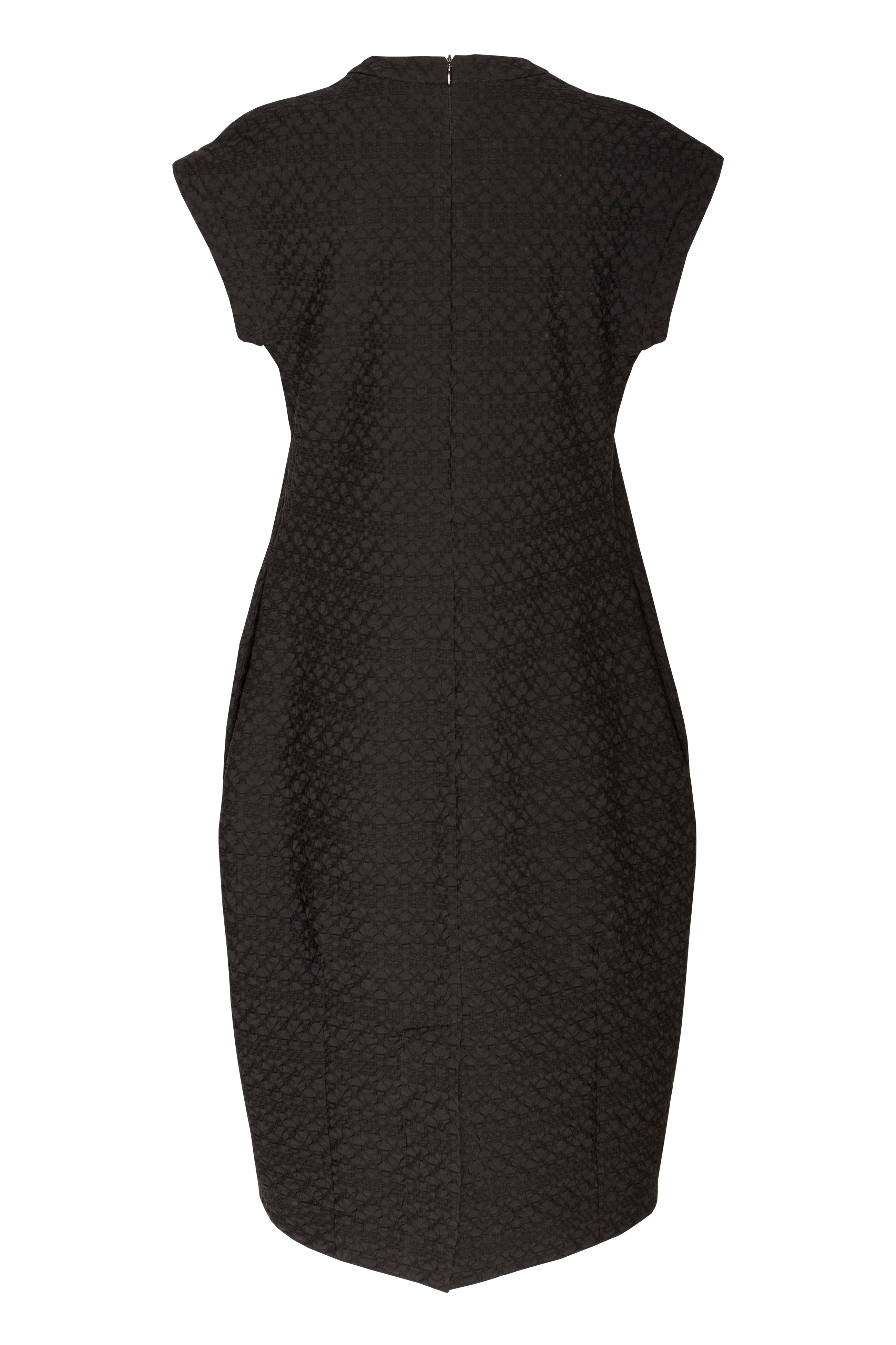 Black Jacquard Cuffed Sleeve Dress 7230