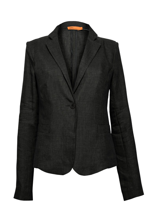 Black Linen Narrow Lapel Jacket 6277