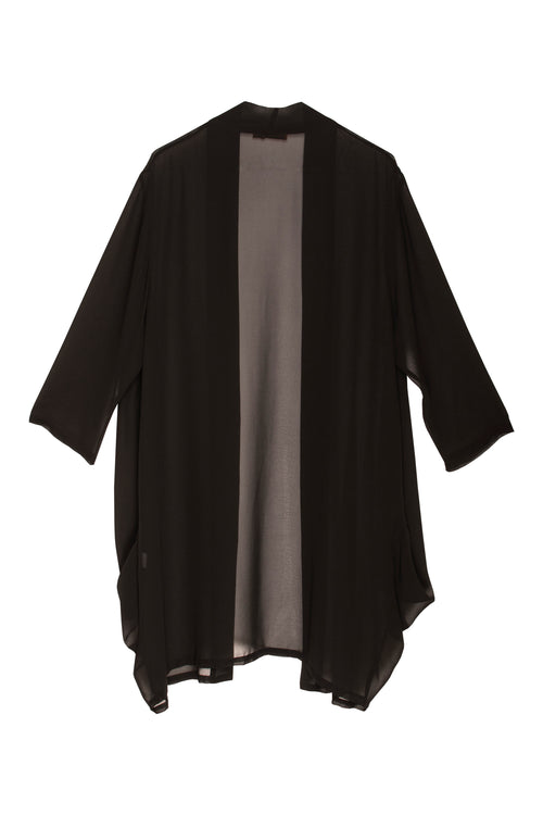 Black Side Drape Long Duster 7250