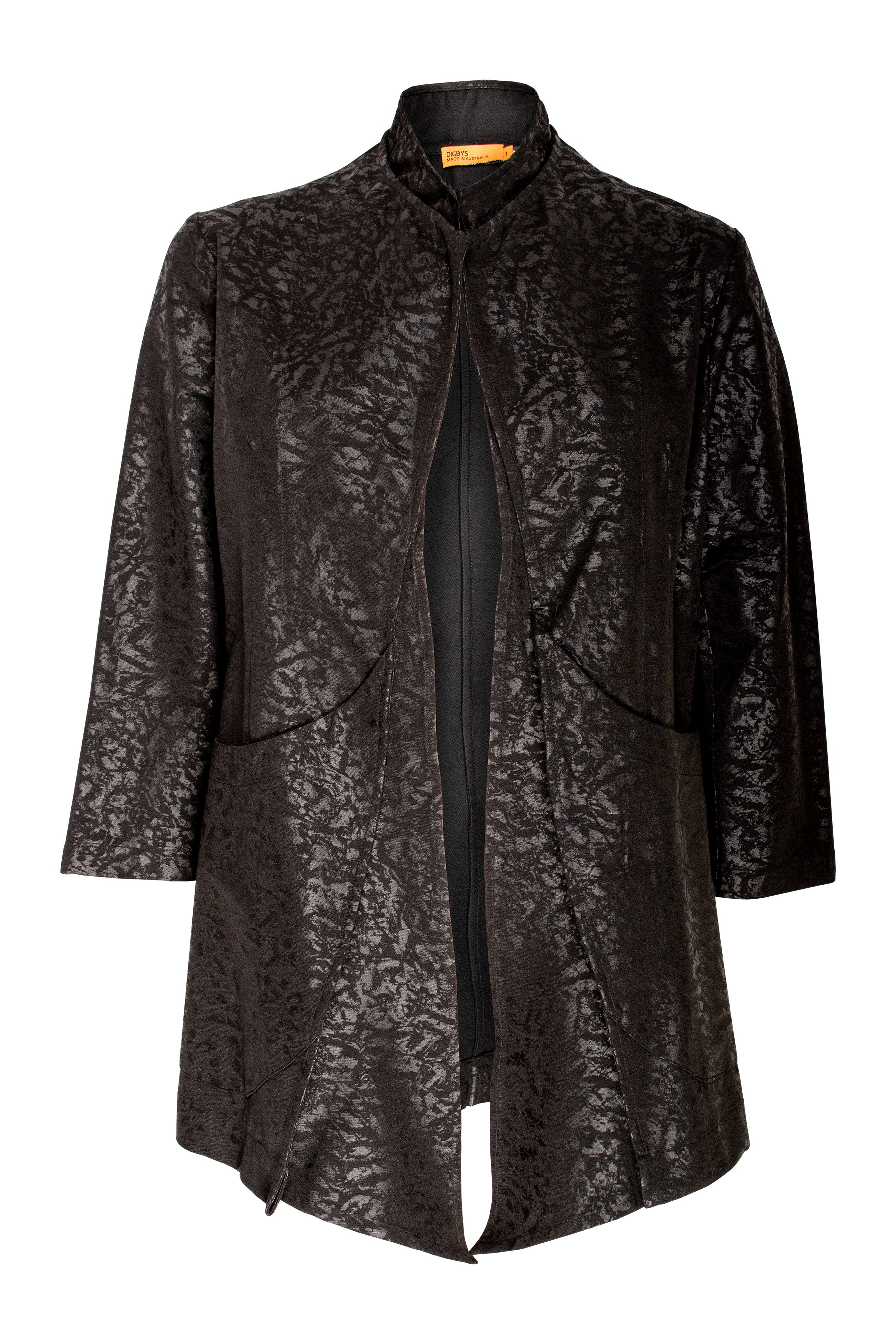 High Shine Black Printed Long Jacket made in Australia