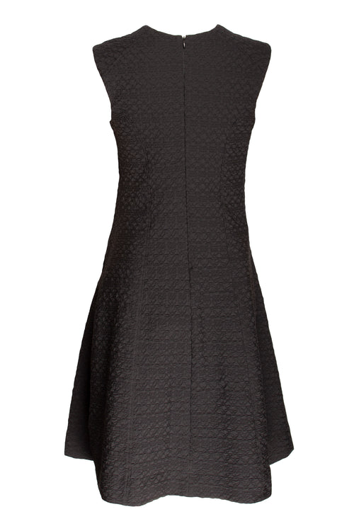 Black Jacquard Slit Pocket V Neck Dress 9256