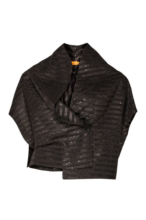 Black asymmetric short jacket with stripes of sequins through the fabric