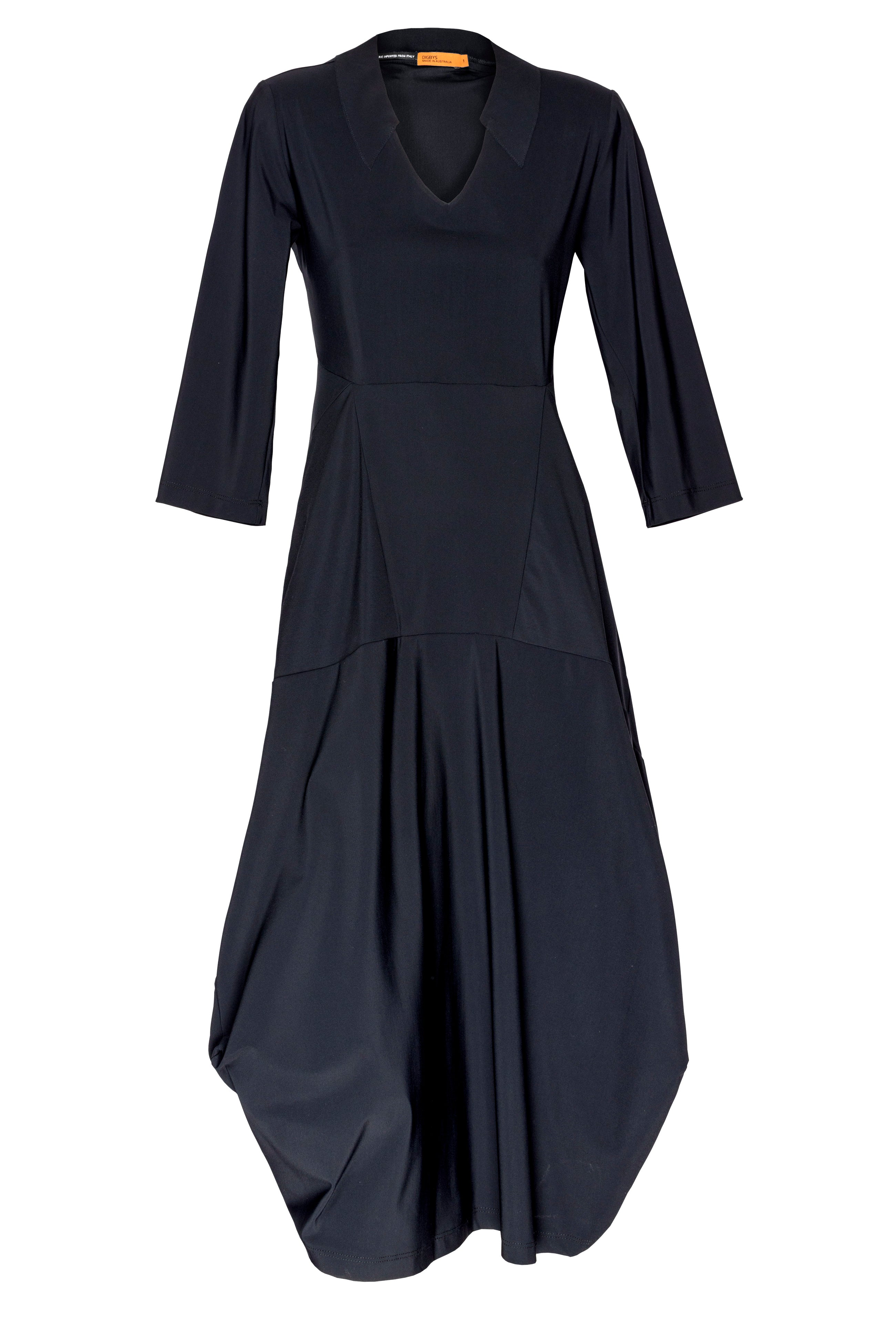 Black Jersey Vee Neck Three quarter sleeve panel dress Australian made