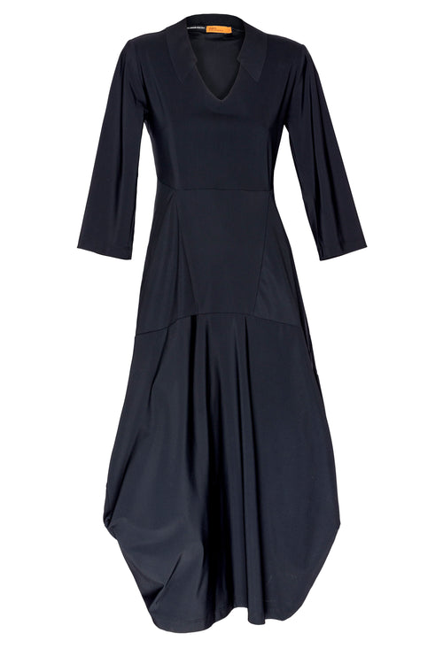 Black 3/4 Sleeve Vee Neck Multipanel Dress 3237