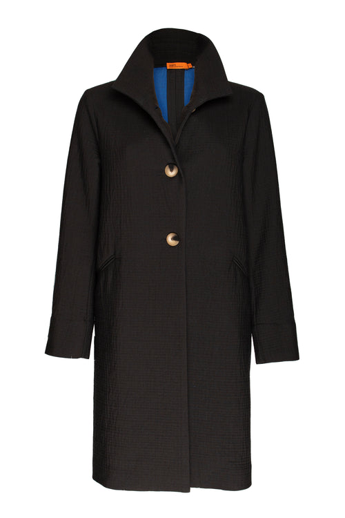 Black/Cobalt High Collar Short Coat 9236