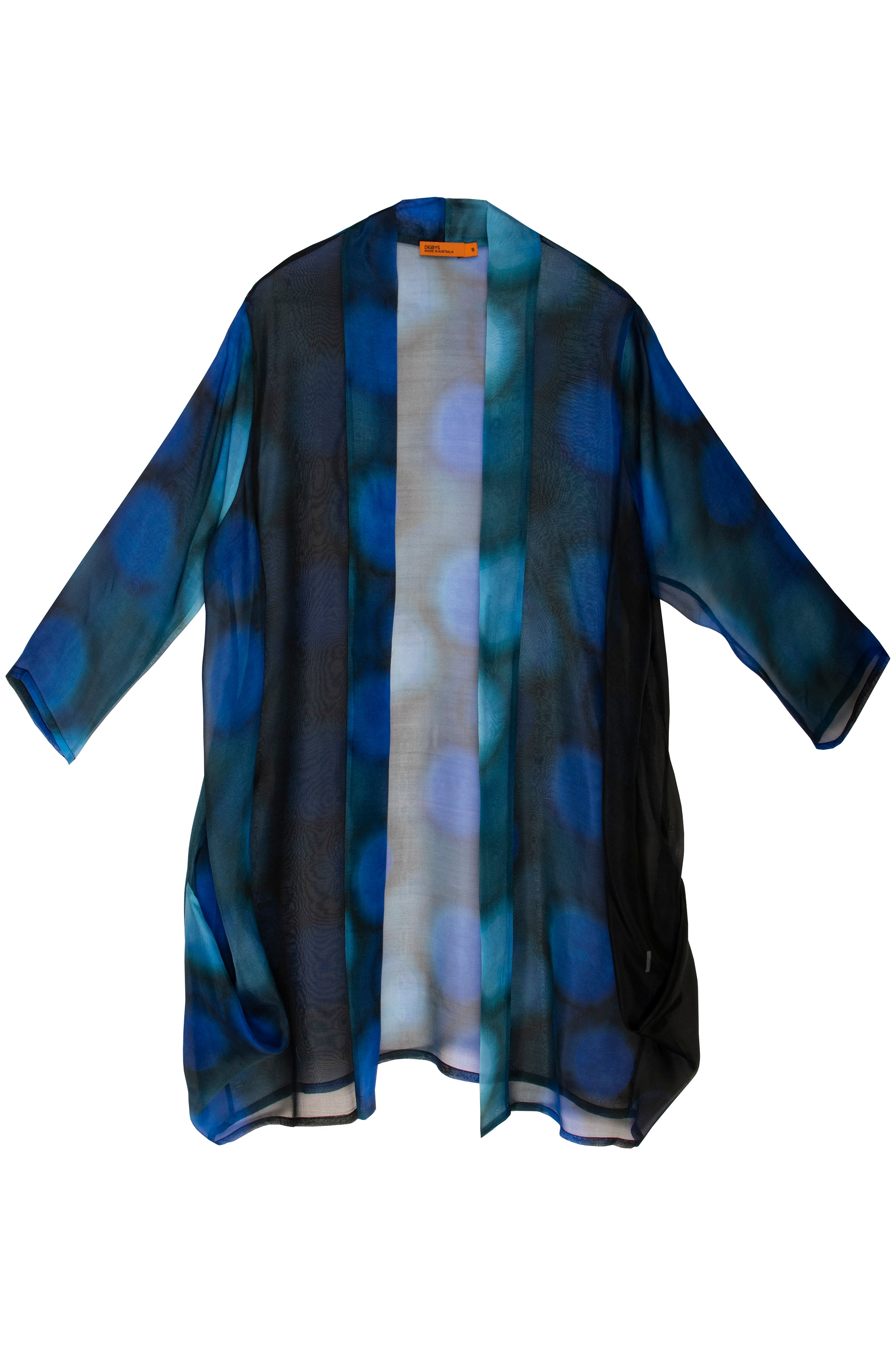 Blue on Blue Side Drape Long Duster 7229