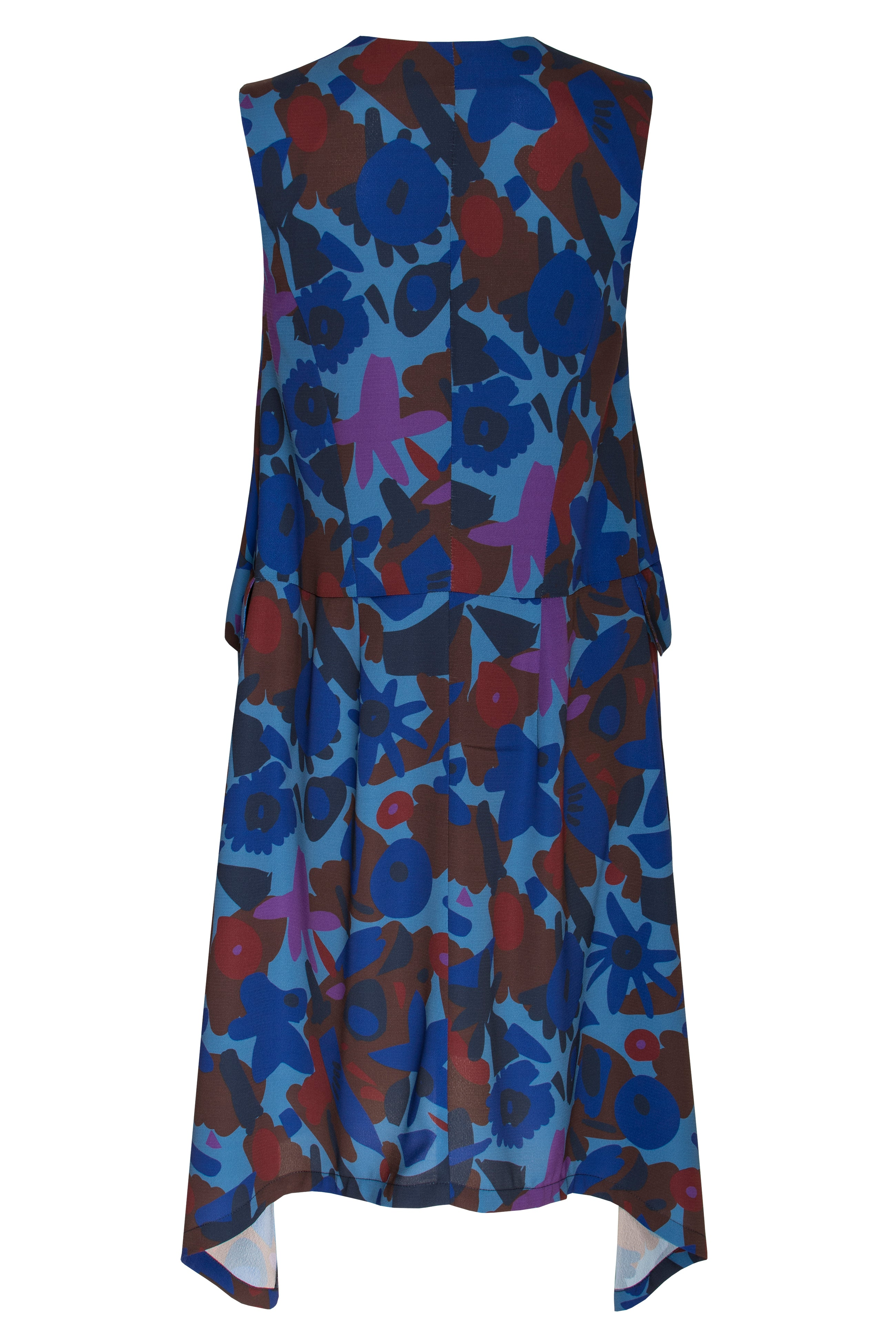 Blues/Wine Print V Neck Angle Hem Dress 6285