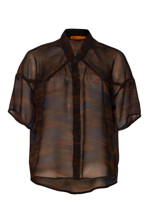 Brown Abstract Drop Shoulder Shirt 4295